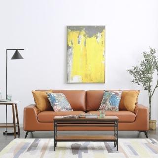 【FL 滿屋生活】FL Maple 麥珀 - 現代簡約棕橘色三人座皮沙發(美式沙發/真皮沙發/實木沙發/三人位/皮沙發)