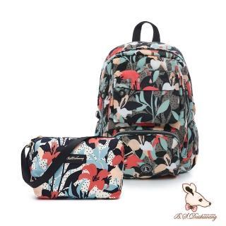 【冰山袋鼠】楓糖瑪芝-大容量附插袋後背包+側背小包2件組-熱帶雨林(Z060+001)