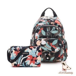 【冰山袋鼠】楓糖瑪芝-輕旅單肩後背兩用包+側背小包2件組-熱帶雨林(Z108+001)