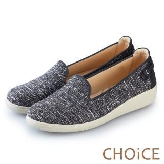 【CHOiCE】渡假休閒 牛仔布休閒平底鞋(黑色)