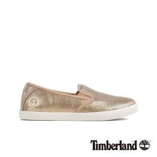 【Timberland】女款香檳金休閒牛皮船型鞋(A1U8QL46)