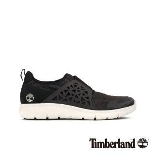 【Timberland】女款經典黑花雕皮革拼接運動鞋(A1PES001)