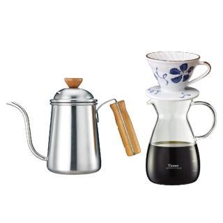 【Tiamo】1403 不鏽鋼細口壺木柄把手 0.7L+V01陶瓷咖啡濾杯+玻璃壺400cc(HA1653+HG5548+HG1988)