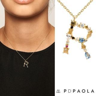 【PD PAOLA】西班牙時尚潮牌 金色R字母項鍊 彩鑽項鍊 925純銀鑲18K金(925純銀鑲18K金)