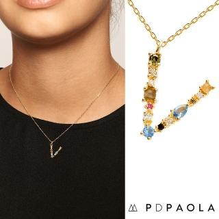 【PD PAOLA】西班牙時尚潮牌 金色V字母項鍊 彩鑽項鍊 925純銀鑲18K金(925純銀鑲18K金)