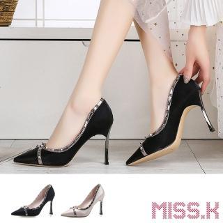 【MISS.K】時尚鉚釘金屬飾帶拼接尖頭高跟鞋(2色任選)