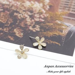 【Anpan】925銀針韓東大門百搭貓眼鑽石花朵耳環