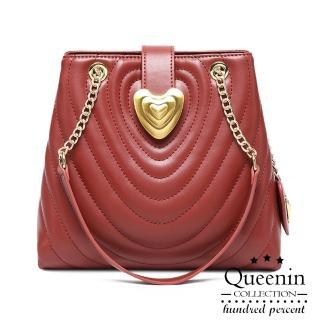 【DF Queenin】奢華優雅鍊帶肩背斜背包-共2色
