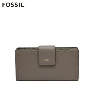 【FOSSIL】Logan 真皮拉鍊RFID中長夾-大象灰 SL7830046