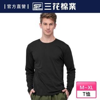 【SunFlower 三花】三花彩色T恤.圓領長袖衫.男內衣.男長T恤(黑)