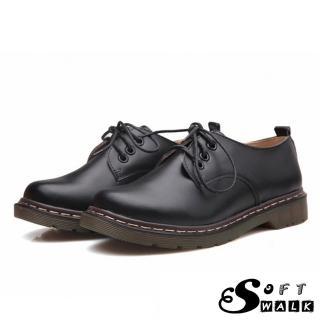 【SOFT WALK 舒步】歐美經典款3孔綁帶真皮馬丁休閒牛津鞋 馬丁靴(黑)