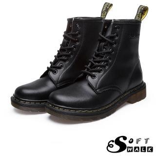 【SOFT WALK 舒步】歐美經典款8孔綁帶真皮馬丁靴 短靴 工程靴(黑)