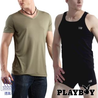 【PLAYBOY】超棉感美國棉背心/V領短袖內衣(五色可選)