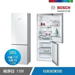 【BOSCH 博世】8系列 獨立式上冷藏下冷凍玻璃門冰箱 純淨白(KGN36SW30D)