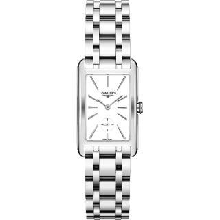 【LONGINES 浪琴】DolceVita 優雅小秒針石英女錶-白x銀/23mm(L55124116)