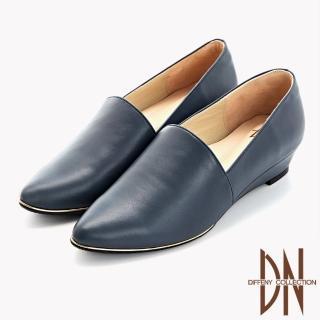 【DN】跟鞋_MIT質感素面全真皮尖頭楔型鞋(藍)