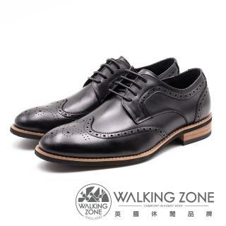 【WALKING ZONE】英倫紳士 雕花綁帶男皮鞋(黑)