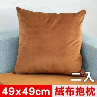 【凱蕾絲帝】台灣製造-特級可水洗棉-實木椅沙發椅專用49cm絨布方形抱枕/靠枕(咖啡二入)