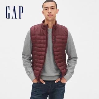 【GAP】男裝 輕盈保暖無袖拉鏈鋪棉背心(473538-經典酒紅色)