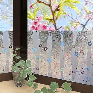 【meiwa】日本製造抗UV節能3D靜電窗貼(亮彩花瓣- 92x500公分)