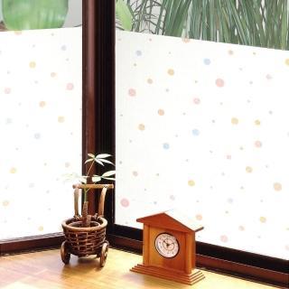 【meiwa】日本製造抗UV節能靜電窗貼(和風彩球- 92x100公分)