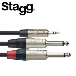 【STAGG 史提格】NYC3MPS2PR 3M Y型音源線立體聲公頭對單聲道公頭(立體聲 Y型音源線)