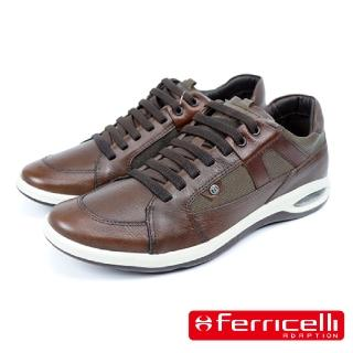 【Ferricelli】Air Equus牛皮綁帶休閒運動鞋(咖啡色 F47875-CHO)
