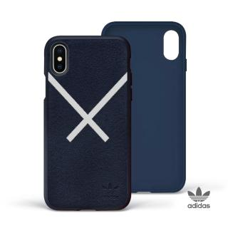 【adidas 愛迪達】iPhone X/Xs XBYO 麂皮絨面貼皮背蓋手機殼(藍色)