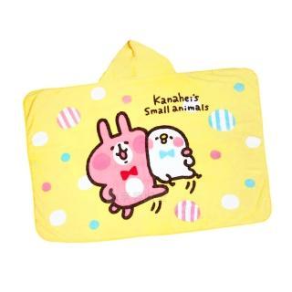 【享夢城堡】法蘭絨披肩帽毯100x150cm(卡娜赫拉的小動物Kanahei 抱緊緊-黃)