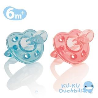 【KU.KU. 酷咕鴨】馬卡龍全矽膠安撫奶嘴-較大6m+(蒂芬藍/莓果紅)