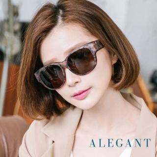 【ALEGANT】經典亞麻棕色豹紋圓框全罩式偏光墨鏡/外掛式UV400太陽眼鏡(外掛式/包覆式/寶麗來墨鏡/車用眼鏡)