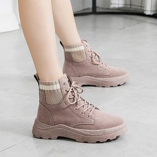 【LN】簡約針織拼接厚底馬丁靴&(馬丁靴)