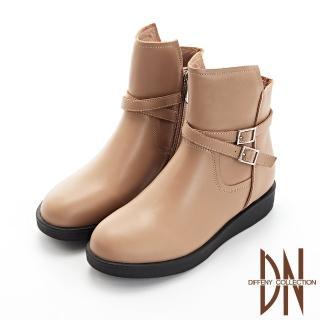 【DN】短靴_好感真皮造型扣帶平底短靴(駝)