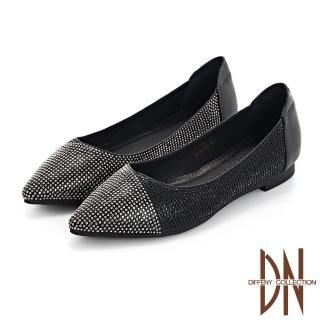 【DN】跟鞋_耀眼水鑽點綴真皮尖頭低跟鞋(黑)