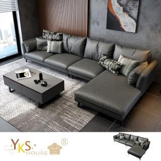 【YKSHOUSE】愛曼達L型布沙發-獨立筒版(兩色可選)
