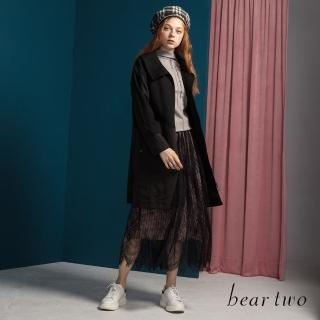 【bear two】造型大口袋翻領外套(黑)