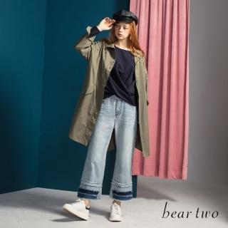 【bear two】金屬環裝飾落肩風衣外套(綠)