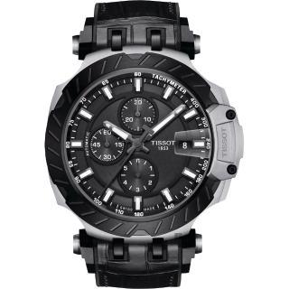 【TISSOT 天梭】T-RACE 計時機械錶-黑/45mm(T1154272706100)