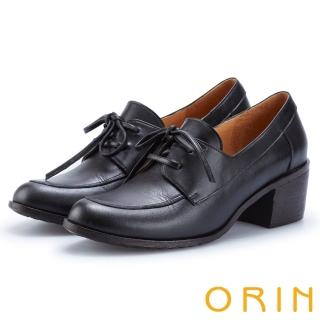 【ORIN】中性雅痞 雙色蠟感牛皮粗跟牛津鞋(黑色)