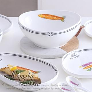 【Homely Zakka】創意Lovely fish系列陶瓷餐具_長條深湯盤