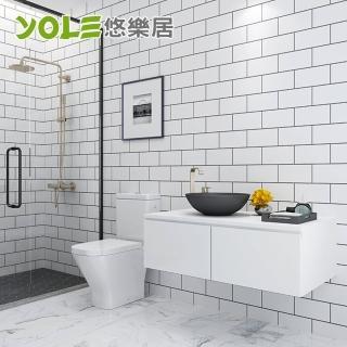 【YOLE 悠樂居】浴室自黏耐磨防水防潮磚紋壁紙壁貼-3m#1330005(白色/灰色)
