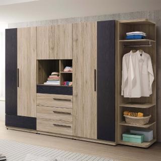【H&D】慕尼黑9尺組合衣櫥(組合衣櫃 衣櫥 四件組 衣櫃 櫃)