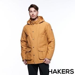 【HAKERS 哈克士】男款 滑雪防水鋪棉外套(木黃色)