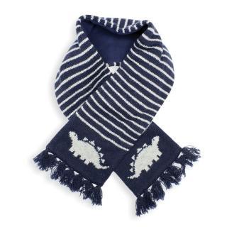 【JoJo Maman BeBe】保暖舒適羊毛圍巾_ 海軍藍恐龍(JJE4907)