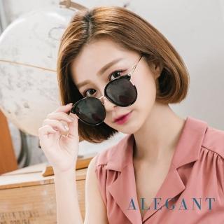 【ALEGANT】名伶的歌劇院(貓眼設計金屬鏤空純黑寶麗來偏光墨鏡/UV400太陽眼鏡)