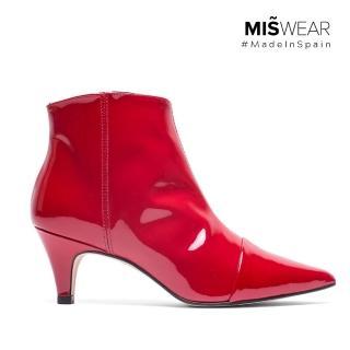 【MISWEAR】1.西班牙製造,原裝進口2.手工設計鞋款,嚴選真皮材質(MISWEAR 漆皮尖頭短靴-紅)