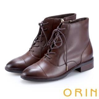 【ORIN】英倫時尚 質感牛皮綁帶短靴(咖啡)