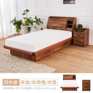 【時尚屋】亞維斯3.5尺積層木床箱型4件房間組-床箱+後掀床+床頭櫃+床墊(免運費 免組裝 臥室系列)
