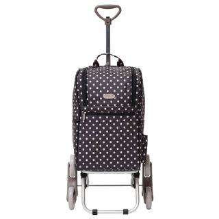 【雙12限定-THE CARROS 卡蘿】輕便時尚購物車-28L三輪有椅-黑色水玉(贈琺瑯烤盤)