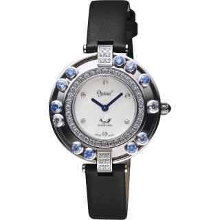 【Ogival 愛其華】流光瀲灩高雅珠寶女錶-珍珠貝/34mm(380-45DL黑帶藍寶)